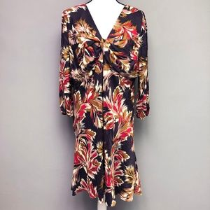 Boden Twist Front Floral Midi Dress Long Sleeve